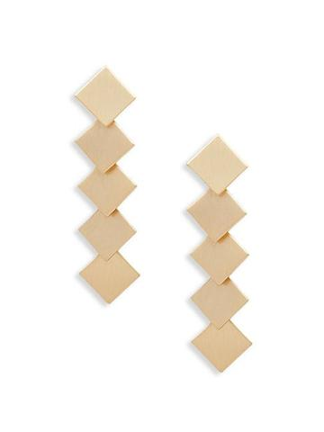 Ava & Aiden Goldtone Layered Squares Drop Earrings