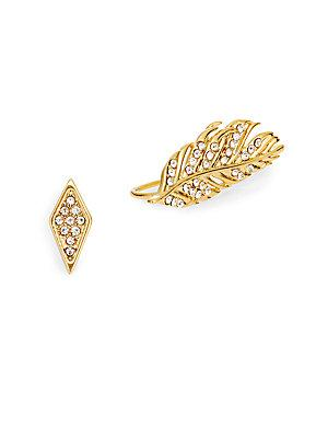 Rebecca Minkoff Feather & Geometric Stud Earring Set/goldtone