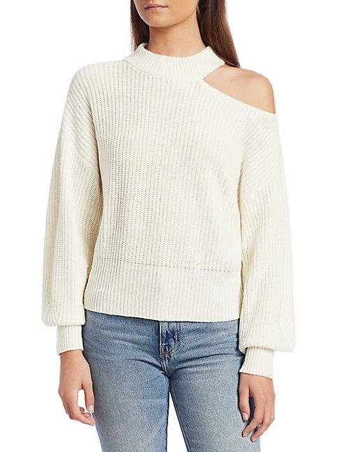Design History Shoulder Cutout Sweater