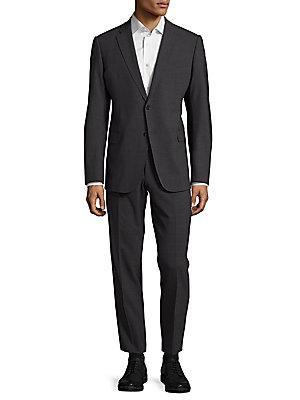 Giorgio Armani Notch Lapel Textured Suit