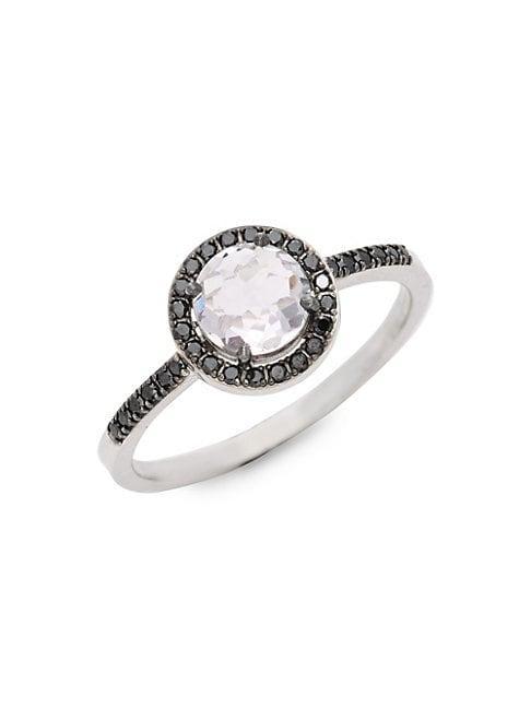Suzanne Kalan 14k White Gold Black Diamond & Amethyst Bezel Ring