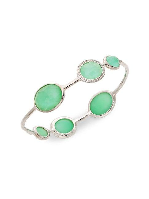 Ippolita Lollipop Sterling Silver Clear Quartz & Chrysoprase Diamond Bangle Bracelet