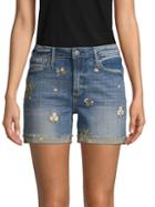 Driftwood Embroidered Denim Shorts