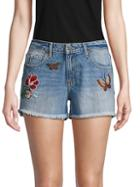 Miss Me Butterfly Embroidered Denim Shorts