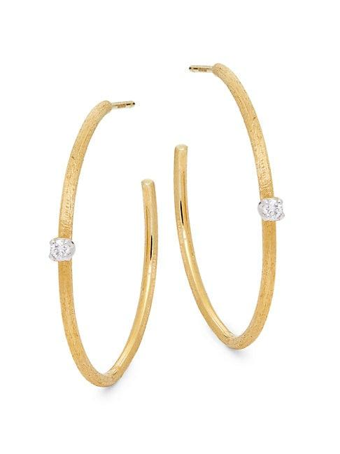 Marco Bicego 18k Yellow Gold & Diamond C-hoop Earrings