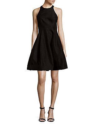 Halston Heritage Textured Fit-&-flare Dress