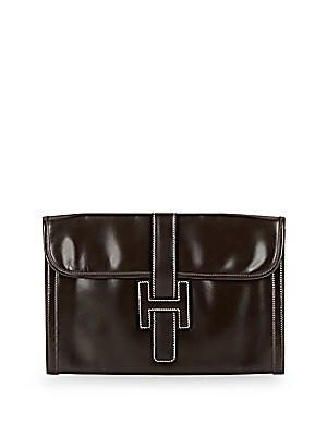 Herm S Vintage Brown Box Jige Pm Clutch