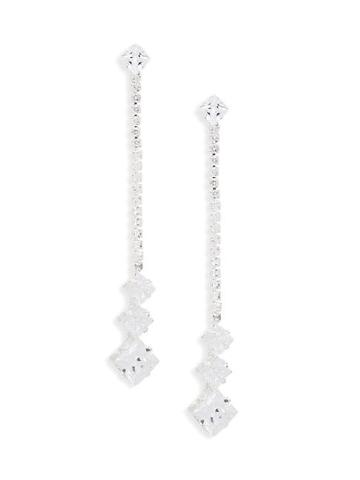 Ava & Aiden Silvertone & Cubic Zirconia Drop Earrings