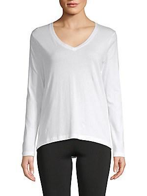 Pure Navy Elliptical V-neck Cotton Top