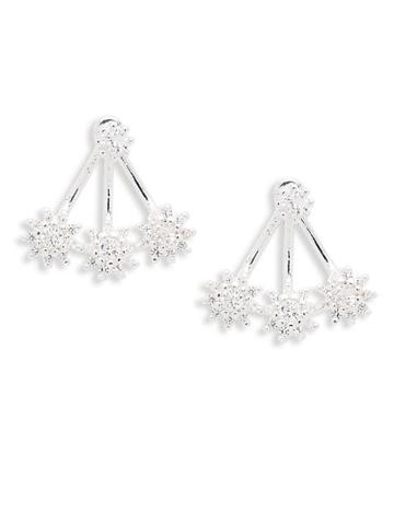 Ava & Aiden Silvertone Crystal Earrings
