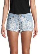 Reverse Lacy Distressed Denim Shorts