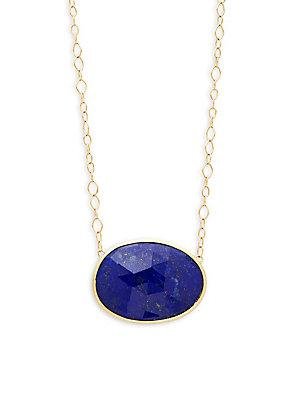 Marco Bicego Lunaria Lapis And 18k Yellow Gold Pendant Necklace