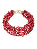 Kenneth Jay Lane Dark Coral Shell Tiered Necklace