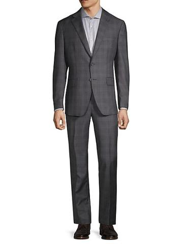 Saks Fifth Avenue Made In Italy Checkered Wool & Silk Suit