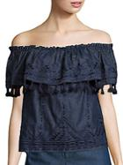 Parker Trinidad Chambray Off-the-shoulder Top