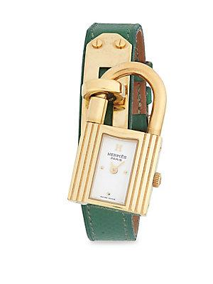 Herm S Vintage Green/gold Kelly Watch