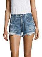 Ag Adriano Goldschmied Sadie High-rise Frayed Denim Shorts
