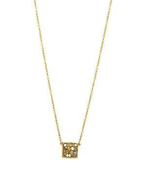Plev 18k Yellow Gold And Diamonds Square Pendant Necklace