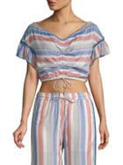 Red Carter Cosette Bell-sleeve Cropped Top