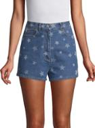 Valentino Star-print Denim Shorts