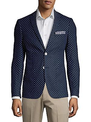 Paisley And Gray Polka Dot Linen-blend Sportscoat