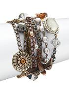 Miriam Haskell Faux Pearl & Crystal Multi Charm Bracelet