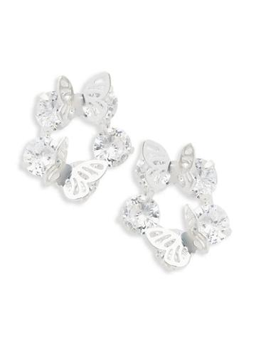 Ava & Aiden Silvertone Cubic Zirconia Butterfly Earrings