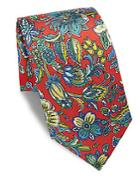 Saks Fifth Avenue Made In Italy Floral-print Silk Tie