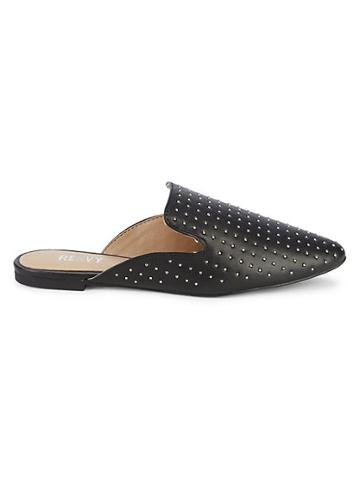 Renvy Maggie Embellished Faux Leather Mules