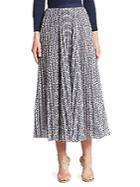 Oscar De La Renta Floral Pleated Skirt