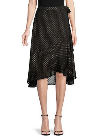 Ava & Aiden Dotted Lurex High-low Ruffle Wrap Skirt