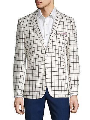 Paisley And Gray Window-pane Suit Jacket