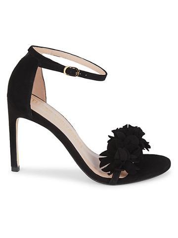 Stuart Weitzman Nudistsong Floral Suede Ankle-strap Sandals