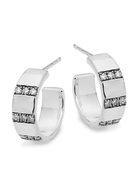 Ippolita Sterling Silver & Diamond C-hoop Earrings