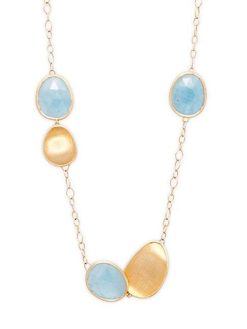 Marco Bicego Lunaria Aquamarine And 18k Gold Station Necklace