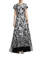 Oscar De La Renta Sequin Embellished Gown