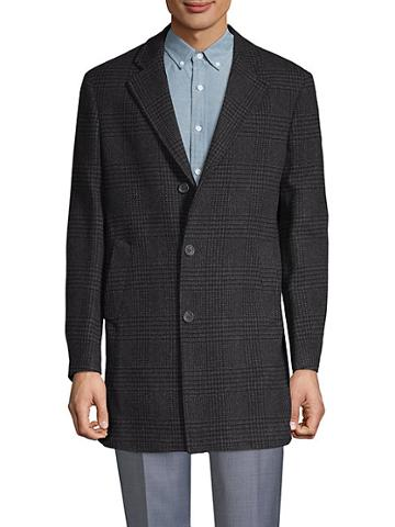 Saks Fifth Avenue Made In Italy Tonal Plaid Double-faced Coat