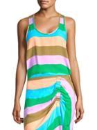 Tibi Sleeveless Striped Tank Top