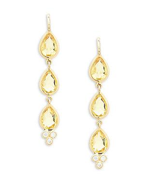 Temple St. Clair 18k Yellow Gold & Diamond Three Drop Earrings