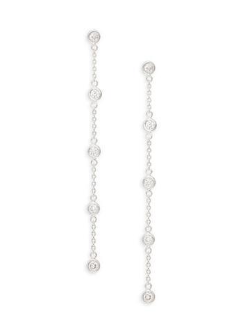 Diana M Jewels 14k White Gold Diamond Linear Drop Earrings