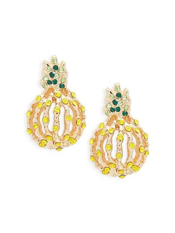 Ava & Aiden Goldtone & Cubic Zirconia Pineapple Earrings