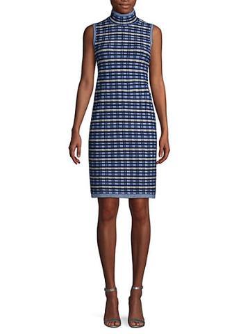 Saks Fifth Avenue Knit Plaid High Neck Dress
