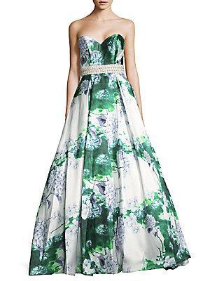 Mac Duggal Beaded Silk Gown