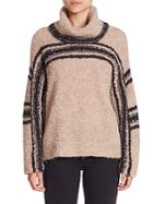 360 Cashmere Saige Fuzzy Striped Turtleneck Sweater