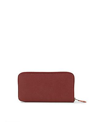 Herm S Vintage Burgundy Epsom Silk'in Wallet