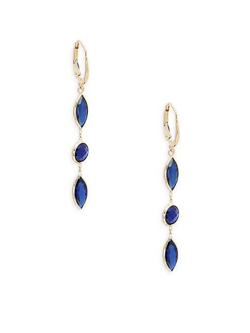 Saks Fifth Avenue 14k Yellow Gold & Blue Sapphire Earrings
