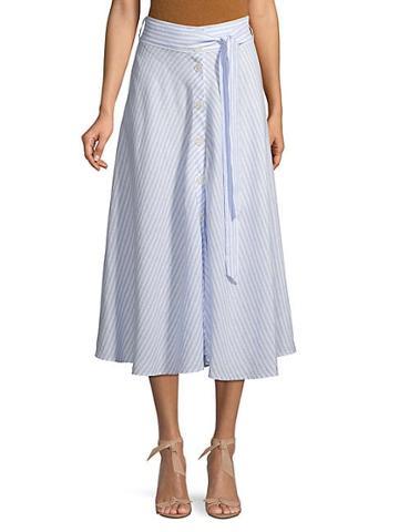 Saks Fifth Avenue Striped Linen Button-front Skirt