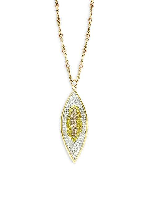 Plev 18k Yellow Gold Diamond Spear Pendant Necklace