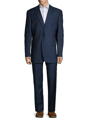 Saks Fifth Avenue Made In Italy Classic-fit Wool & Silk Suit