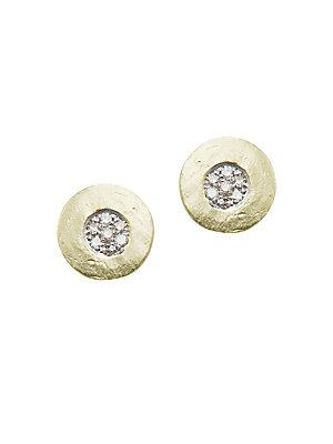 Meira T Diamond And 14k Yellow Gold Stud Earrings